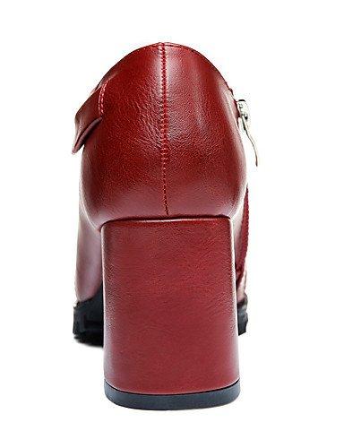 WSS 2016 Chaussures Femme-Mariage / Bureau & Travail / Habillé-Noir / Bordeaux-Gros Talon-Talons-Talons-Similicuir black-us5 / eu35 / uk3 / cn34