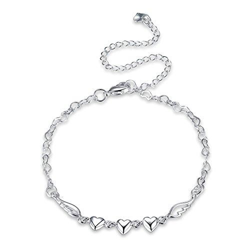 Addfect Fußkettchen Engel Damen in Silber Personalisiert Herz Fußspange Verlängerung Verstellbar Länge 20-30cm