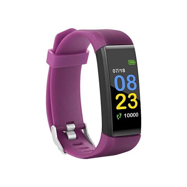 115plus Fitness Tracker Pulsera inteligente Pantalla a color Bluetooth Reloj deportivo Monitor de frecuencia cardíaca / presión arterial Podómetro Paso Contador de calorías Púrpura AC1423. Accesorios 5