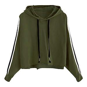 feiXIANG Damen Freizeit Sweatshirt Hoodie Streifen langärmliges Locker Gestreiftes Shirt Bluse Hooded
