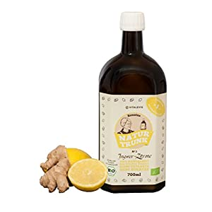 """Renates NaturTrunk N° 3 Zitrone + Ingwer 700ml Glasflasche, Ihr biologischer SCHLANKMACHER! Auch gut gegen den""""Kater"""" eine Flasche = 28 Shots. DE-ÖKO-006"""