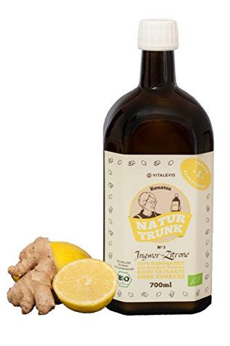 BIO! Renates NaturTrunk N° 3 Zitrone + Ingwer 700ml Glasflasche Ihr biologischer SCHLANKMACHER! Handwerklich hergestellt in kleinen Stückzahlen. Auch gut gegen den