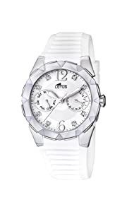 Reloj analógico Lotus 15731/1 de cuarzo para mujer con correa de caucho, color blanco