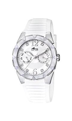 Lotus 15731/1 - Reloj analógico de cuarzo para mujer con correa de caucho, color blanco de Lotus