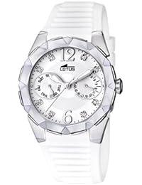 Lotus 15731/1 - Reloj analógico de cuarzo para mujer con correa de caucho, color blanco