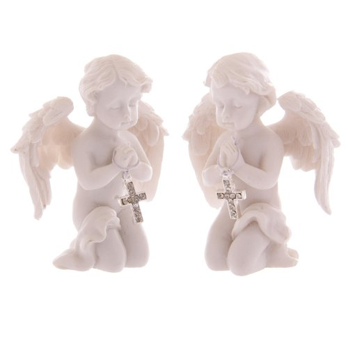 Cute Praying Cherub Statuetta Jewelled Argento Croce Angelo ornamenti PDS