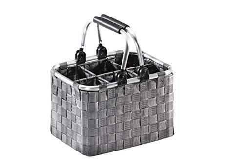 Flaschenträger für 6 Flaschen auf Metallrahmen mit Nylongeflecht in grau