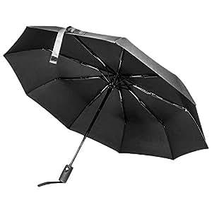 Regenschirm sturmfest mit Knopfdruck Auf-Zu-Automatik – Taschenschirm schwarz mit wasserabweisender Teflon-Beschichtung