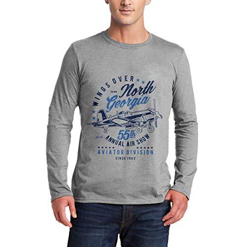 A796MLSTG Herren Langarm T-Shirt Wings Over North Georgia Vehicles Air Show Aviator Division Plane Jet Craft Classic Retro(Small,Grey) - Georgia Classic-shirt