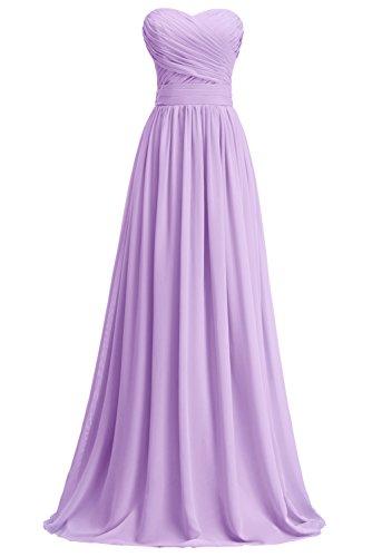 KekeHouse® A-Linie Maxi Brautjungkleid Mutter Tochter Abendkleid Plissiert Partykleid Blumenmkleid Lavendel