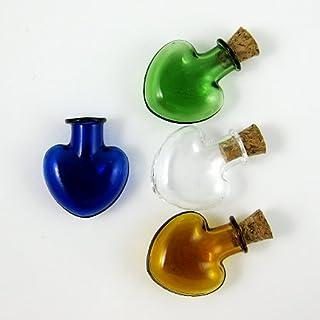 4 x Glass Bottles Cork Mini Stopper Wishing Bottle Pendants Perfume Hand-Blown Small Drift Bottle 4 colors SG4
