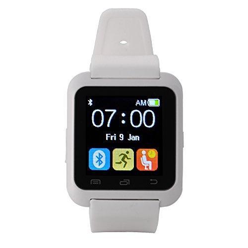 [Regalos de Reyes] EasySMX Bluetooth 4.0 Multi-idiomas Reloj Inteligente Smartwatch podómetro/ Monitor de sueño/ Alarma/ Calendario con la Pantalla Táctil Compatible con Android Smartphones como Samsung, HTC, Sony, Huawei (Blanco)