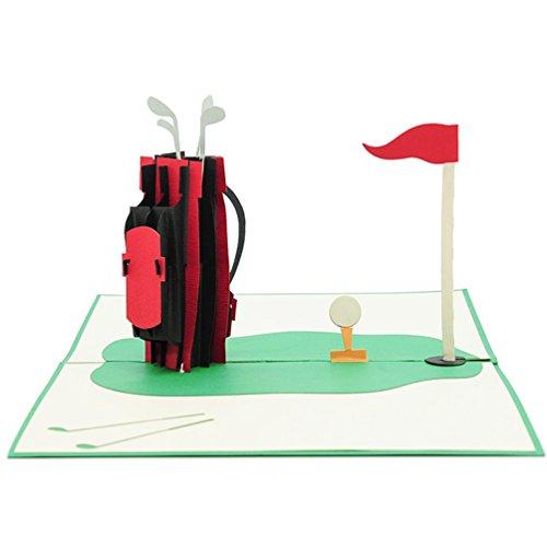 Carte de vœux Favour Pop Up–Golf. Style Motif espaces, aufwändige la main et Créer ausgefeilte la technologie laser sur et un filigranes Art.. tf080