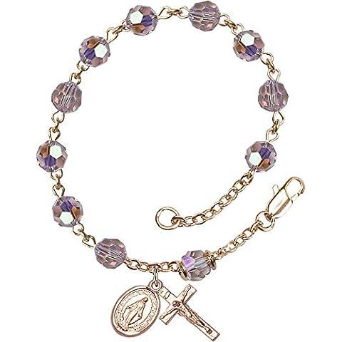 14quilates de oro rosario pulsera características 6mm luz amatista Swarovski, austríaco lata corte Aurora Borealis cuentas. El crucifijo Medidas 5/8x 1/4.