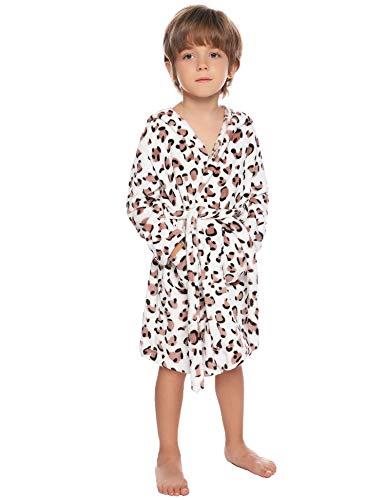 Aibrou Jungen/Mädchen Winter Fleece Leopard/Gepunkt Bademantel Flauschiger Morgenmantel Weiß 150 (empfolen: 12-13 Jahre Alt)