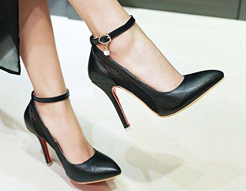 Chaussures de Femme Escarpins Mesh Mariées Sexy Aisun Cheville Noir vw6gqHn