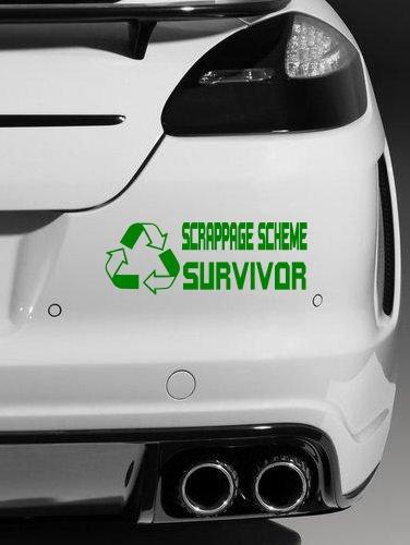 """Vinyl-Autoaufkleber, englischsprachige Aufschrift """"Scrappage scheme survivor"""", JDM, EURO, Grün"""