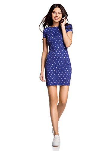 oodji-Ultra-Femme-Robe-Basique-en-Maille-Bleu-FR-36-XS