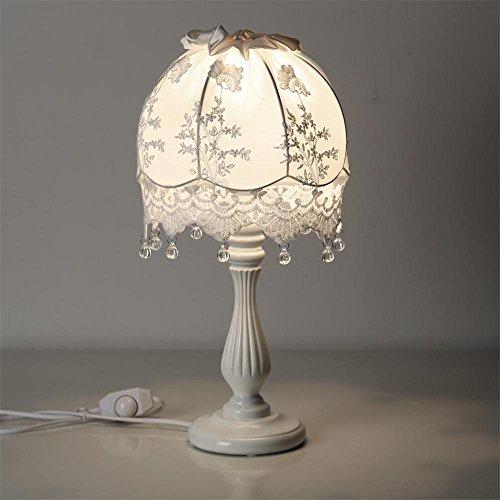 ALUK-Nice table lamp Europäische Tabellen-Lampen-Nachttopf-Spitze-Nette kreative Art- und Weiseprinzessin-Raum-Kind-kleine Tabellen-Lampe (Farbe : Cremeweiß)