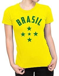 Buzz Shirts Mujeres Camiseta Brazil 1960`S Stars Copa del Mundo 2018 Fútbol Patriotic Brasil