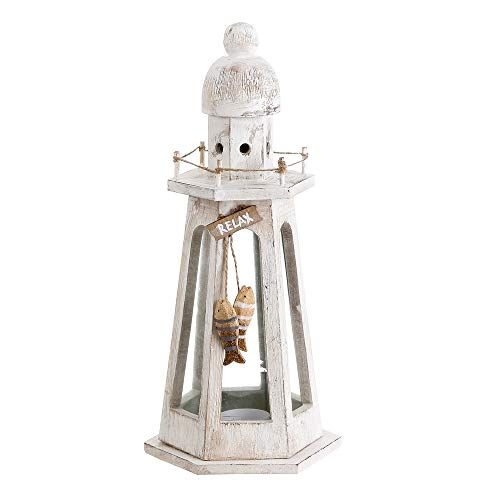 Farol portavelas de Madera Natural Blanco nórdico para decoración Vitta - LOLAhome