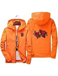 JOJOJOMay - Chaqueta de béisbol para Parejas con Estampado Floral y Cremallera Completa, Naranja,