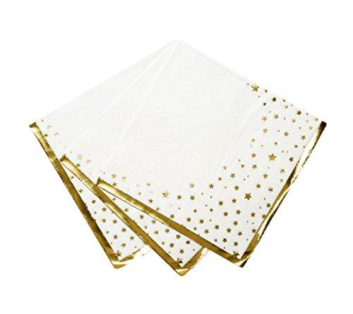 Talking Tables STAR-NAPKIN-WHT Etoile Serviette Parfait pour Baby Shower, Noël, Réveillon, Nouvel an, Hanukkah, Eid, Anniversaire et Graduation | Papier, Blanc et Or | Lot de 16, Multicolor