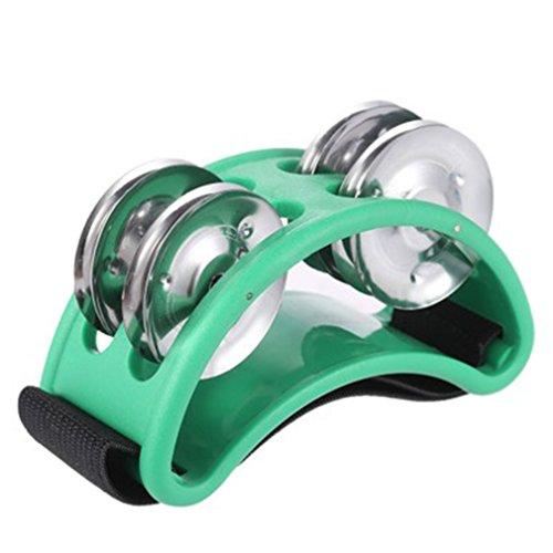 LnLyin Fuß Tamburin Percussion Musikinstrument 2Sets Metall Jingle Bell, grün, Einheitsgröße