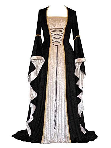 ZhuiKunA Damen Retro Mittelalter Renaissance Kostüm,Lange Ärmel Party Kleid Schwarz ()