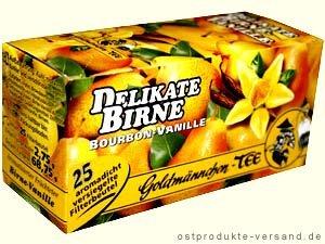 Birne Vanille Tee Goldmännchen | INKL DDR Geschenkkarte | DDR Produkte| Ideal für jedes DDR Geschenkset | DDR Traditionsprodukt und Ossi Kultprodukt | DDR Artikel