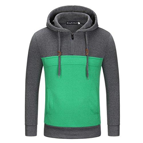VENI MASEE Herren Color Stitching Taschen Pullover Outdoor Sweater mit Kapuze(M-3XL) Dunkelgrau