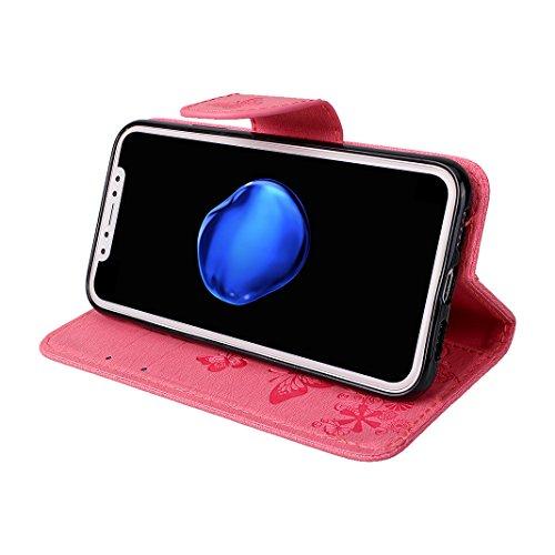 iPhone X Hülle, iPhone 10 Handytasche Rosa Schleife Premium PU Ledertasche Flip Wallet Book Case Cover Vintage Schmetterling Muster Klapp Hülle Magnetverschluss Kartenfach Handyhülle für iPhone X / 10 Rosa