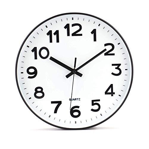 Tebery No de tickende Modern Reloj de Pared DIY para salón Oficina de Cocina (30 cm, Color Blanco)  - Necesita 1 pila AA (se vende por separado)  - Dimensiones: 30.5 x 4,8 cm - Material: PVC hermosa confeccionada en piel sintética vintage reloj de pa...