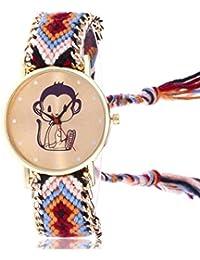 TINGSU Women Monkey Knitted Weaved Rope Band Bracelet Quartz Dial Wrist Watch (Black)