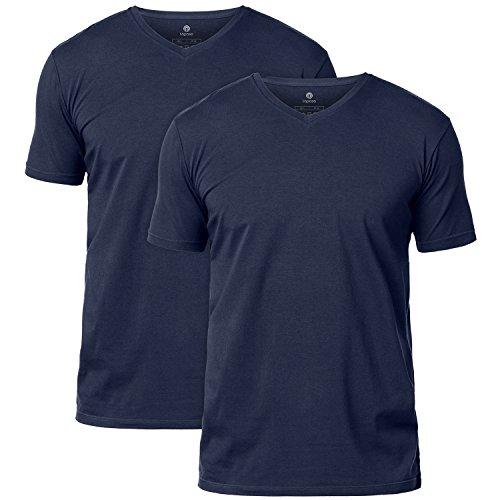 LAPASA 2er Pack Herren T-Shirts aus Gekämmte Baumwolle - Business Kurzarm Unterhemd mit Rundhalsausschnitt/V-Ausschnitt für Männer M05 & M06 (S, V-Ausschnitt: Navy Blau) - Herren-unterwäsche-ziel