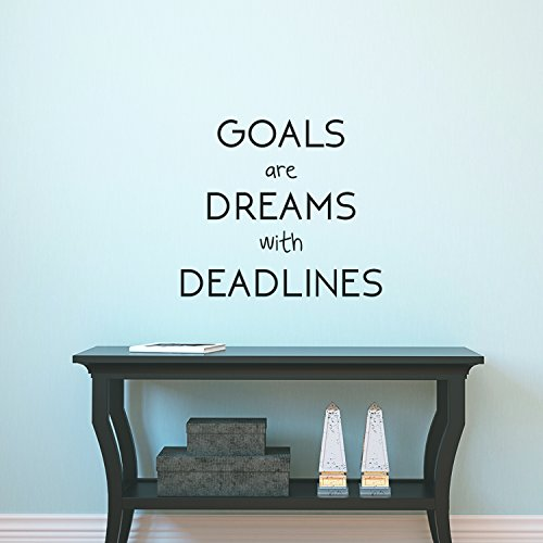 Motivational positiven Zitat Wand Kunst Vinyl Aufkleber-Ziele Sind Dreams mit Deadlines- 66x 58,4cm Inspirierende Art Wand Decor- Business Büro positiven Zitat Sticker Decals