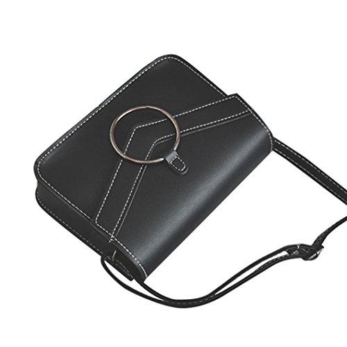 ESAILQ Mode Sac simple anneau rétro Mini sac à bandoulière épaule Messenger bandoulière de femmes Cartable