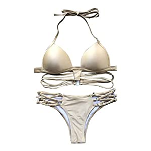 AMUSTER Damen Bikini-Sets Bademode Bikini Push-up Bikinioberteil Bikinihose und Neckholder Bikini Bademode für Damen