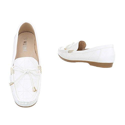 Ital-Design Chaussures Femme Mocassins Plat Mocassins blanc D1507-5