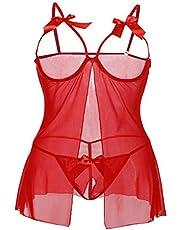 MALLORY WINSTON Women's Babydoll Nighty Sleepwear Lace Lingerie Nightwear with Panty (Red, Free Size,FF0047)