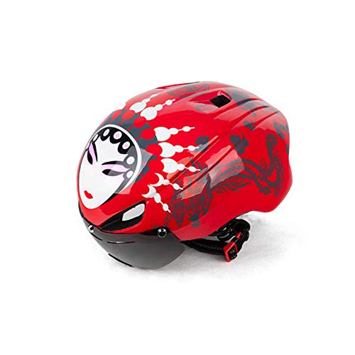LEENY Radfahren Spezialhelme, Outdoors Sports Safety Verstellbarer Fahrradhelm mit Schild Visier, Unisex Geschützter Kopfschutzhelm Helm für Fahrradfahren Racing Skateboarding,Female