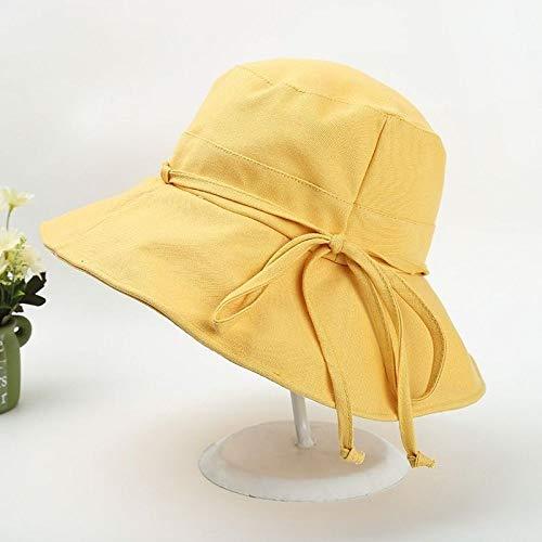 mlpnko Hut Visier weiblichen Outdoor-Sonnenschutz Fischerhut Tuch Hut Falten einfarbig großen Hut Kappe gelb einstellbar (Peter Pan Kostüm Weiblich)