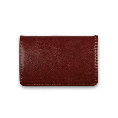 Visitenkarten-Etui Premium Business Kartenetui mit Magnetverschluss aus PU Leder für Damen und Herren (Vintage Braun)