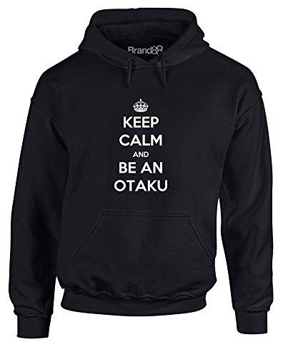 Keep Calm and be an Otaku, Adult's Gedruckt Hoody - Pullover - Schwarz/Weiß S = 86-91 cm