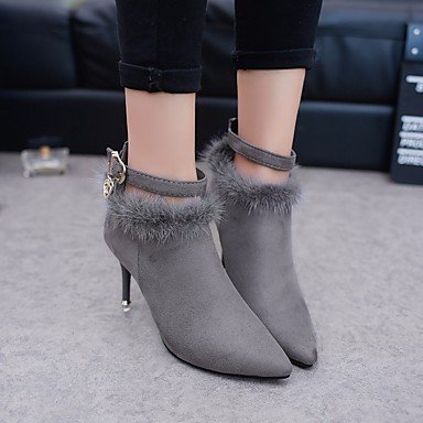 Zormey Damen Stiefel Winter Mary Jane Pu Casual Keilabsatz Feder US8 / EU39 / UK6 / CN39
