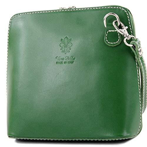 modamoda de - T94 - ital kleine Umhängetasche aus Glattleder, Farbe:Grün -