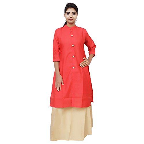 Kieana Women Raw Silk Plain Kurti With Kundan Work Button And Stand...