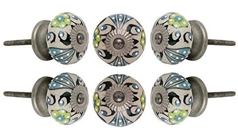 Set of 4 Round Ceramic Talid Antique Cabinet Knobs Chrome Finish Kitchen Cupboard Dresser Door Knob Wardrobe Drawer Pull By Trinca-Ferro