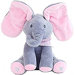Juguete de peluche para bebé peek-a-boo Elefante, juego de ocultar y buscar Morbuy Muñeca de peluche animada de felpa para bebé Regalo para muñecas para bebé / niños (Rosa-Gris)