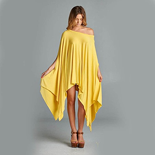 Minetom Femmes Manches Longues Tunique Pullover Jumper Blouse Asymmetric Tops Loose Chemisier Chemise Casual Robe Jaune